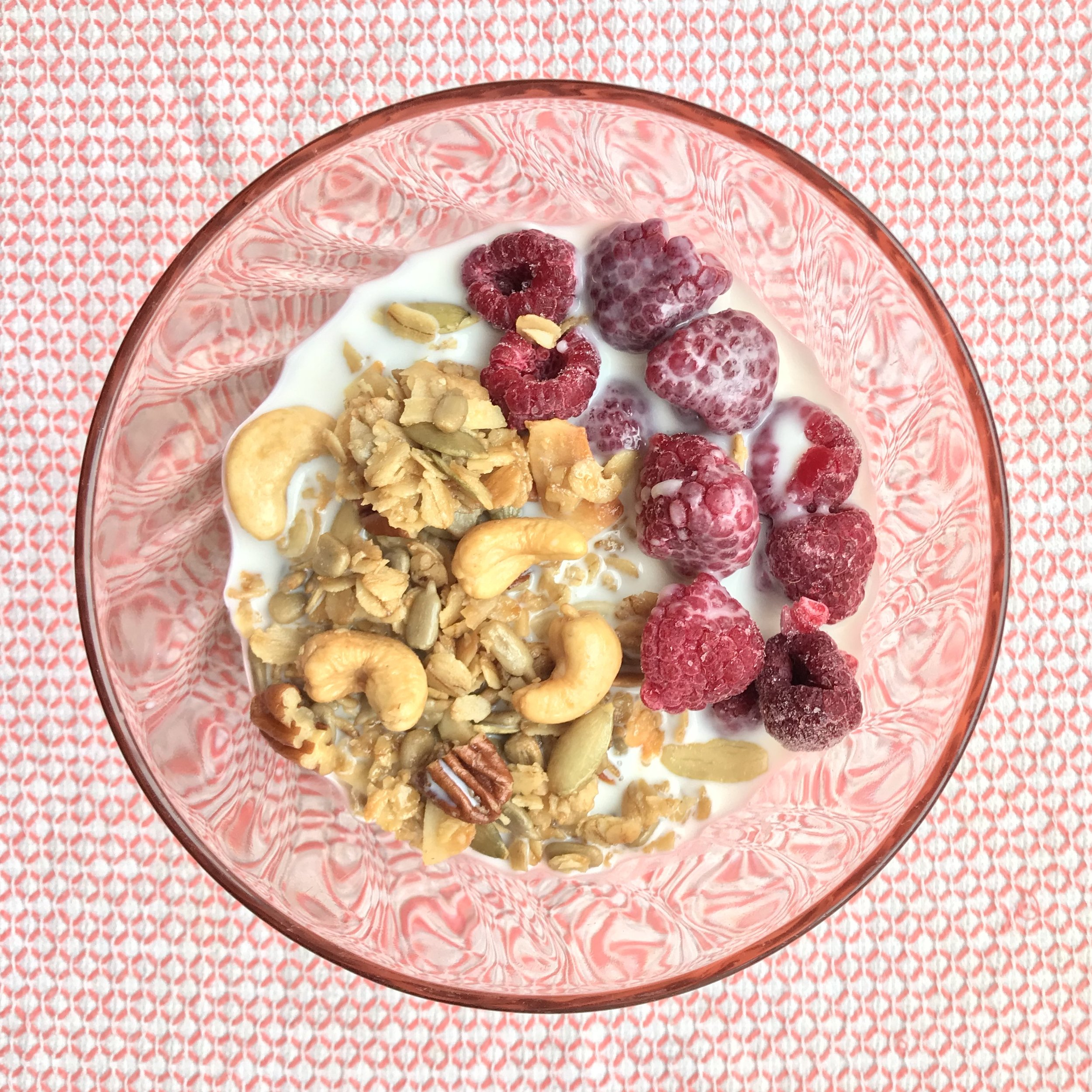 granola w/frozen raspberries