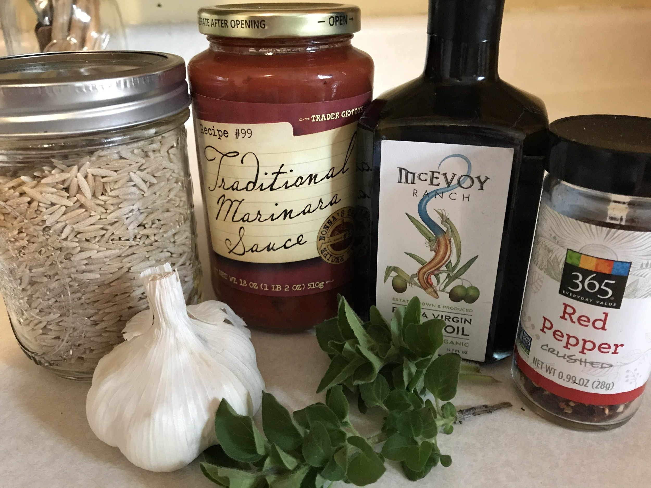 Pantry ingredients minus the onion & parmesan cheese...  Yes, I know the oregano is from the garden. You could use dried, too.