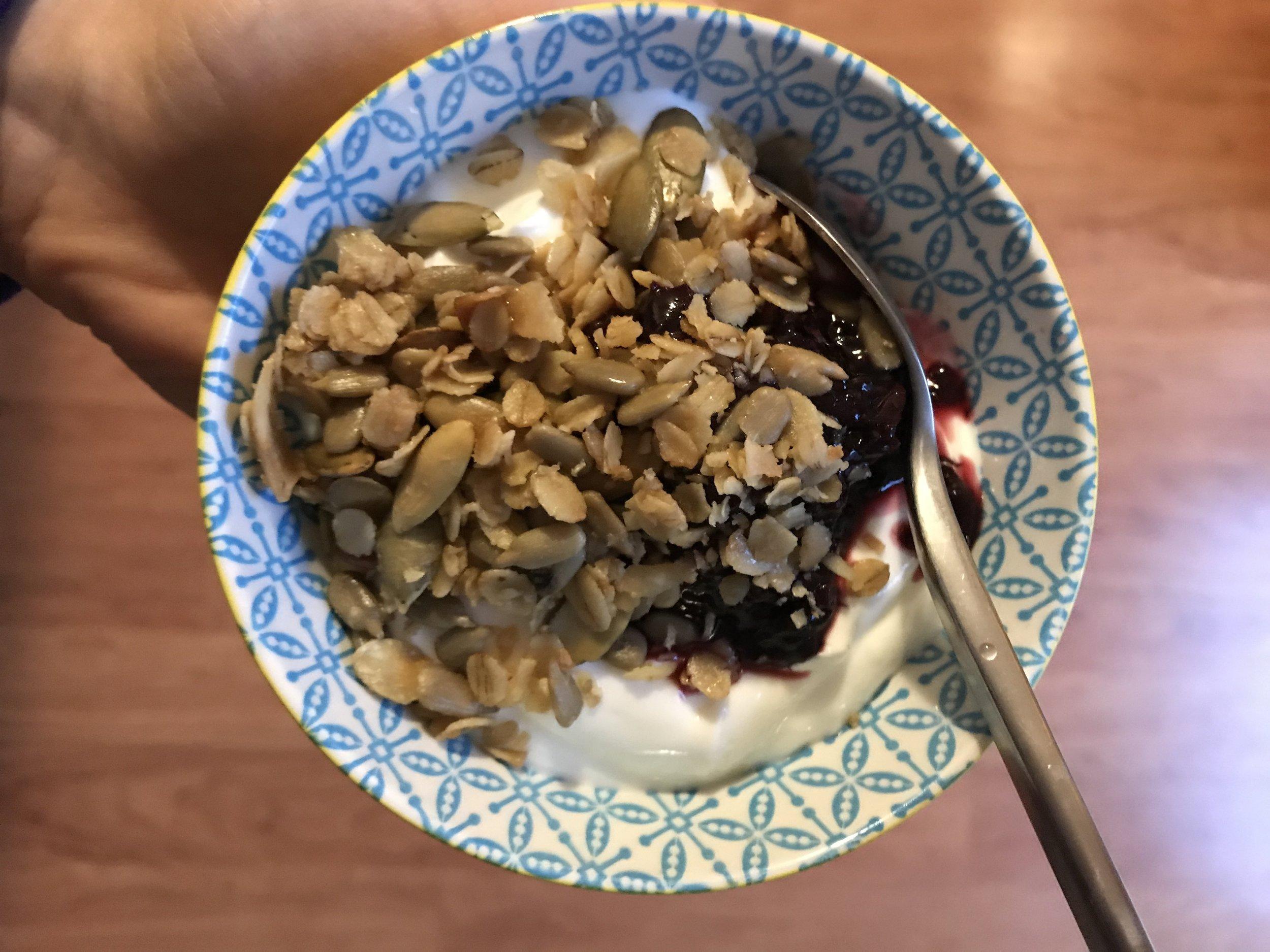 yogurt + cherry-chia jam + granola