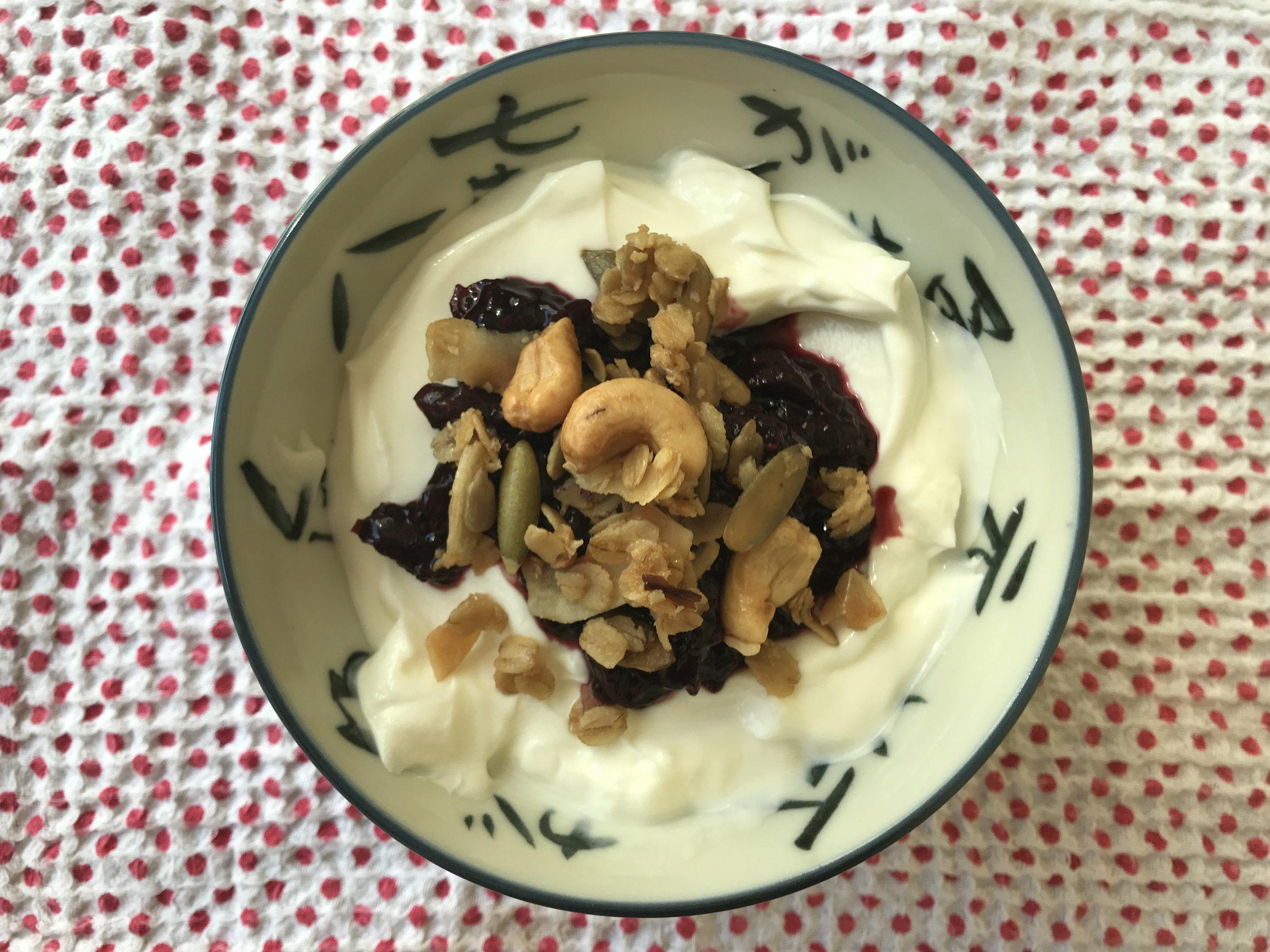 yogurt + cherry chia jam + granola