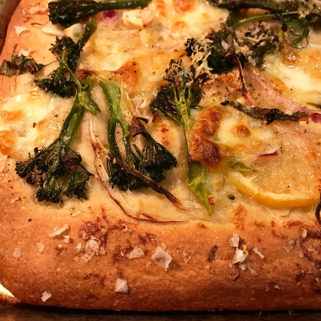 broccolini + lemon pita pizza