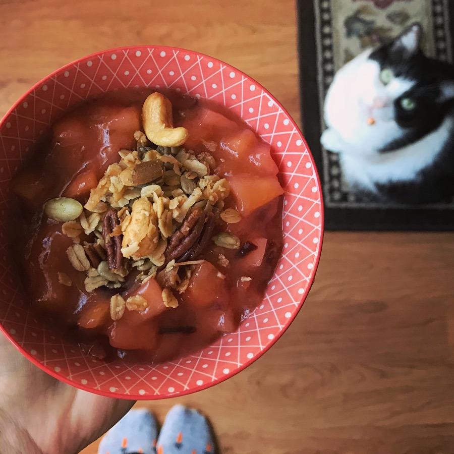 sautéed apple + pear + maple nut granola