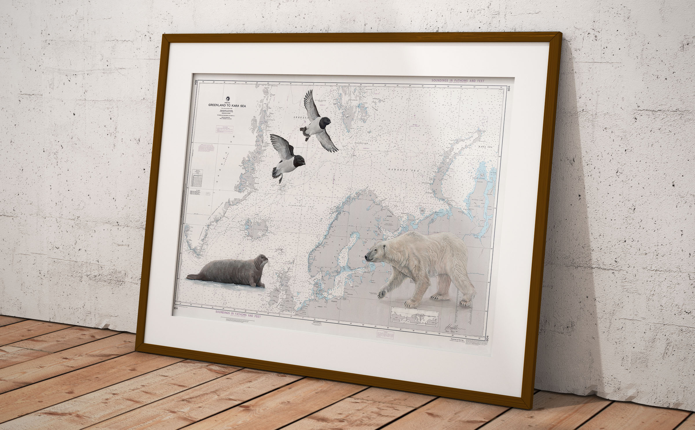 """Arctic Ocean Wildlife"", on NGA Chart 804.   Before framing, this piece measures 42""x56""!"