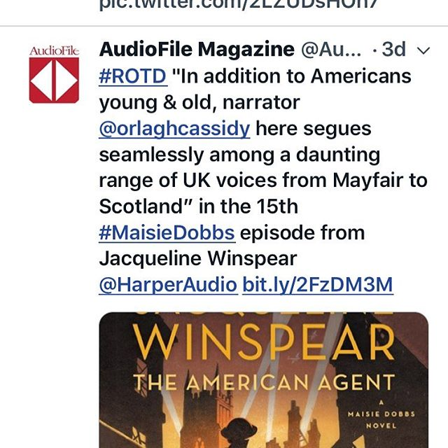 Thanks for the shout out #audiofilemagazine @jacquelinewinspear #audiobooks