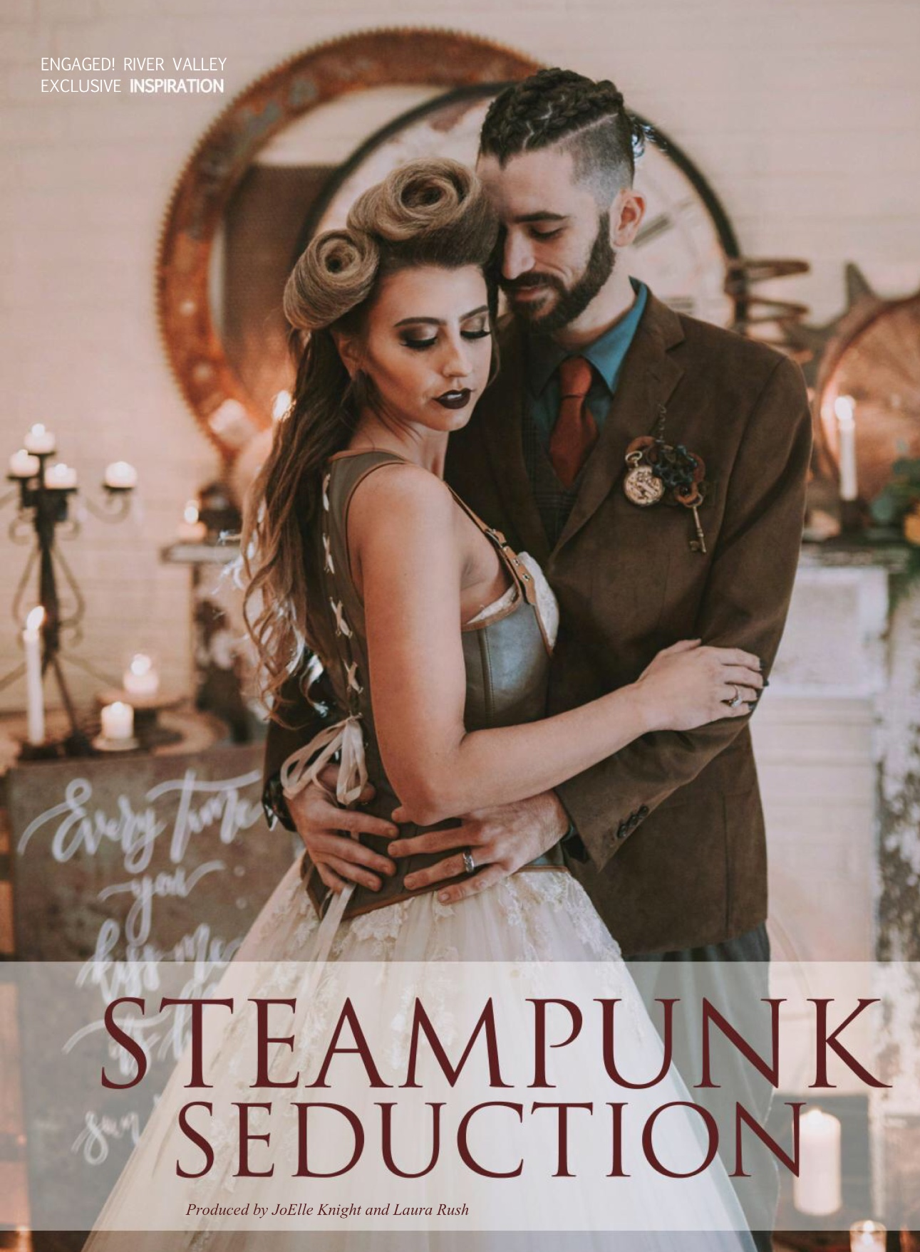 Gears, Gadgets, Keys, & Springs - This steampunk inspired shoot was so much fun to create. Photographer, Laura Rush of Esther Bloom captured the moody vibe of this shoot to perfection. See the entire article by clicking below.