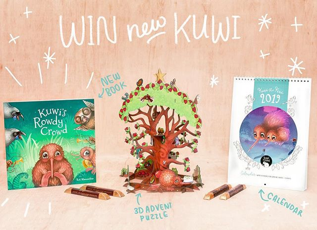 ⭐️ INSTAGRAM ... Win Kuwi's New Products! ⭐️ Go in the draw to win some new Kuwi the Kiwi goodies; - Autographed Kuwi's Rowdy Crowd - Kuwi 3D Advent Calendar (add a new piece for each day of Dec!) - Kuwi 2019 Family Calendar - Whittaker's Chocolate Lovers, just because. 🌈 Simply comment tag a friend and like our page. Enter as many times as you like. * Book autographed by Kat Merewether ♡ * Entries open WORLDWIDE * Entries close midnight, 18th Nov 18