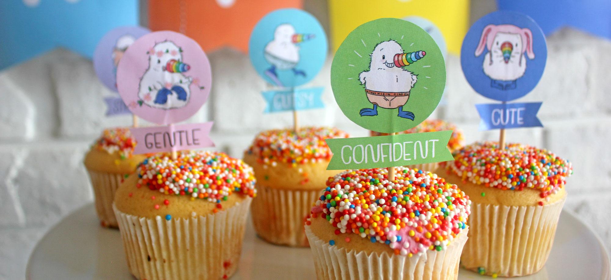 Kiwicorn Cupcake Toppers   Make your cupcakes super with these Kiwicorn Cupcake Toppers   Download