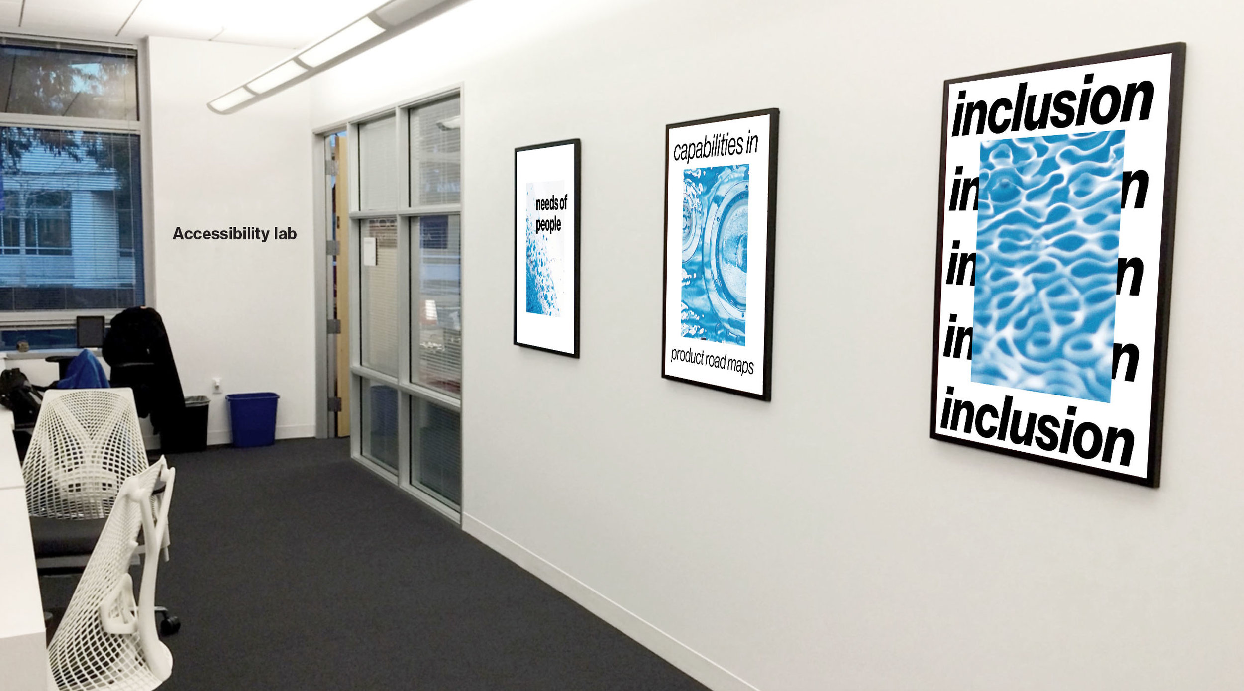 Posters hanging in the Accessibility Lab in Sunnyvale, CA.