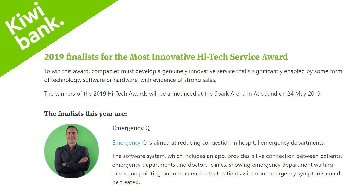 Emergency Q are 2019 finalists for the Most Innovative Hi-Tech Service Award.