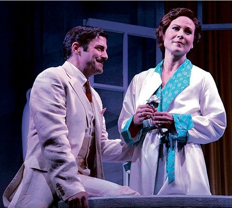 "Private Lives - Shakespeare Theater of New JerseyThe New York Times ""Victor Prynne, as embodied by Robert Gomes, is a graceless man of limited imagination, as he should be. Imagine Bruce Dern as Tom Buchanan in 'The Great Gatsby,' only sweet.""Variety ""Dandy support comes from Robert Gomes as Amanda's stuffy new husband, who defines pomposity with militant poise. ""Talkin' Broadway ""Robert Gomes as Victor, the abandoned bridegroom, captures the foolishness and ineffectuality which make him a perfect foil.""Curtain Up ""Gomes earns his share of laughs as the bellowing windbag Victor.""(Pictured with Carolyn Kozlowski)"