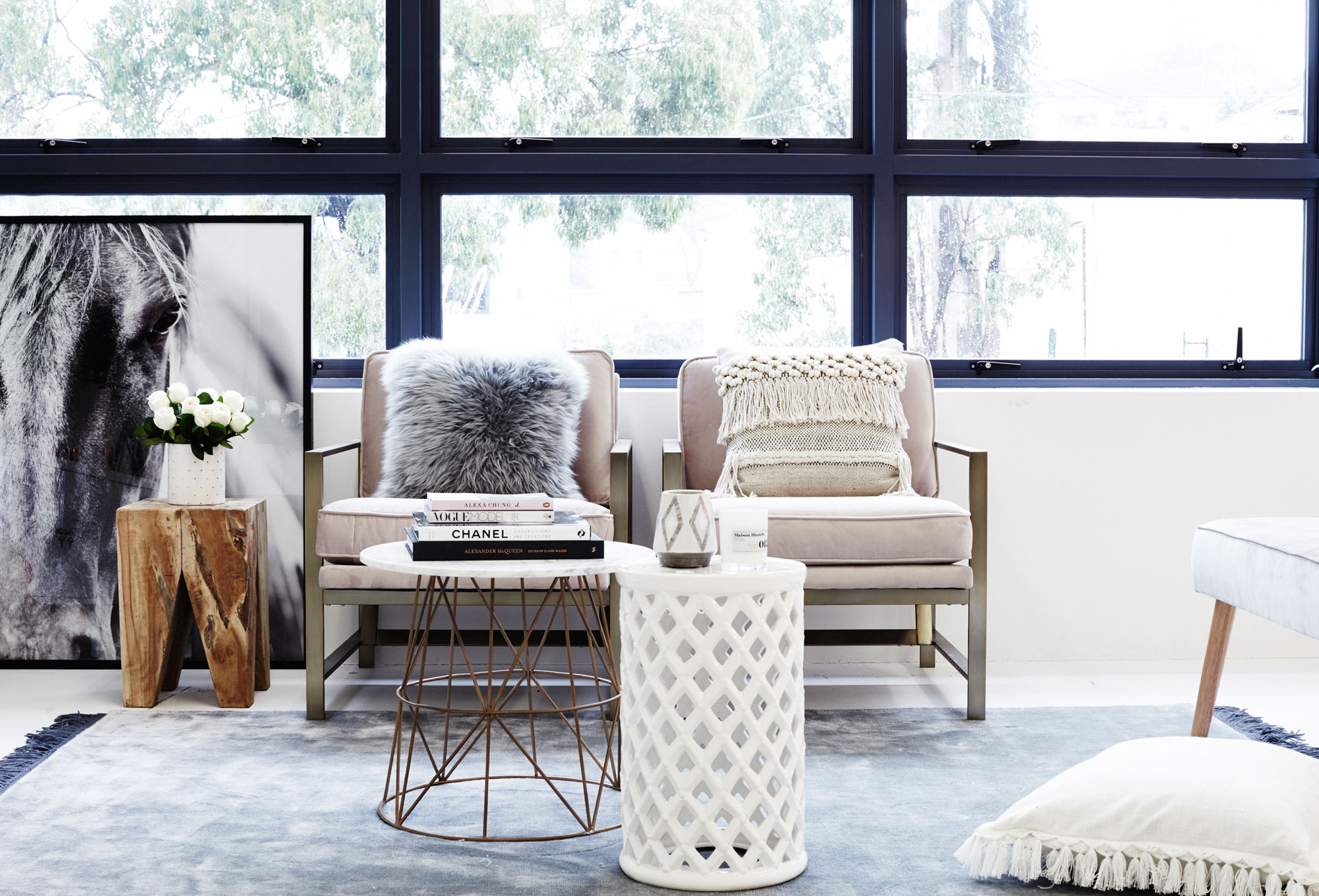 RUG - BO CONCEPT  HORSE PAINTING -  HAMPTONS AT HOME  COFFEE TABLES -  OZ DESIGN FURNITURE  CHAIRS -  WEST ELM