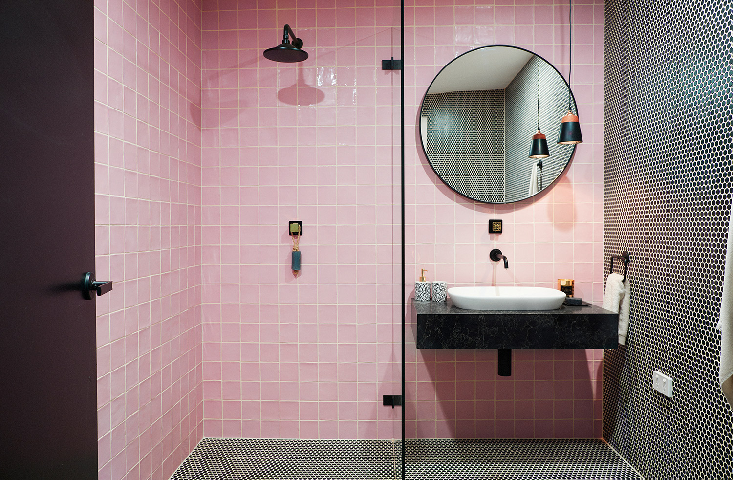 Pink Tiles + Penny Round Tiles