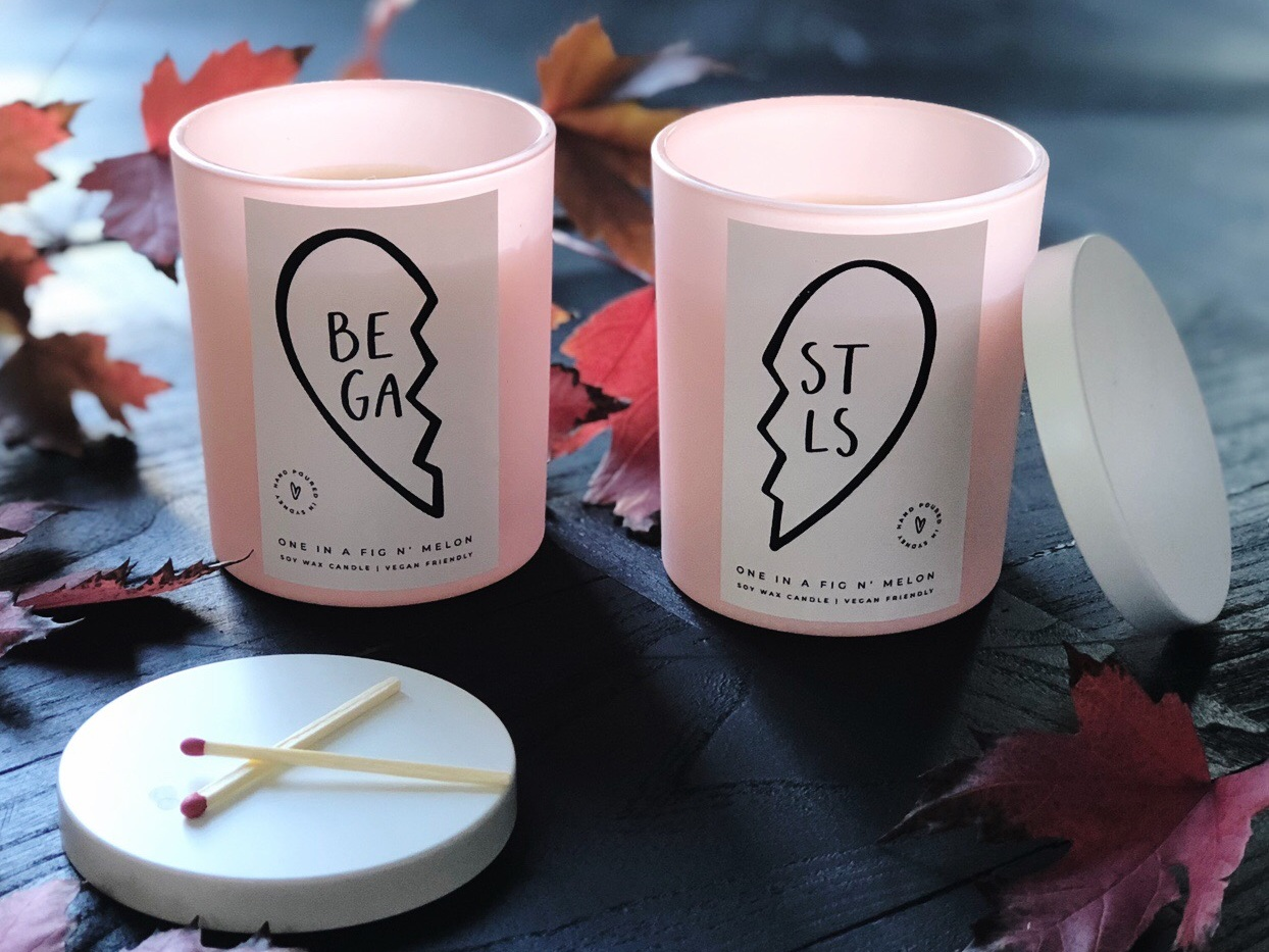 Handmade scented candles by Pretty Frank