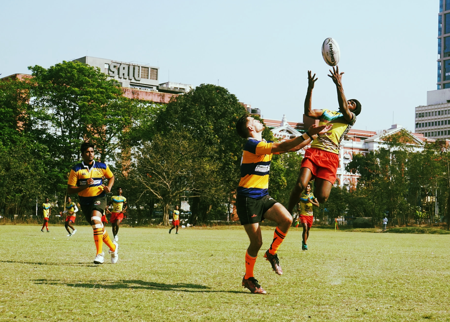 Action from Crow Field - rugby in the very heart of Kolkata!