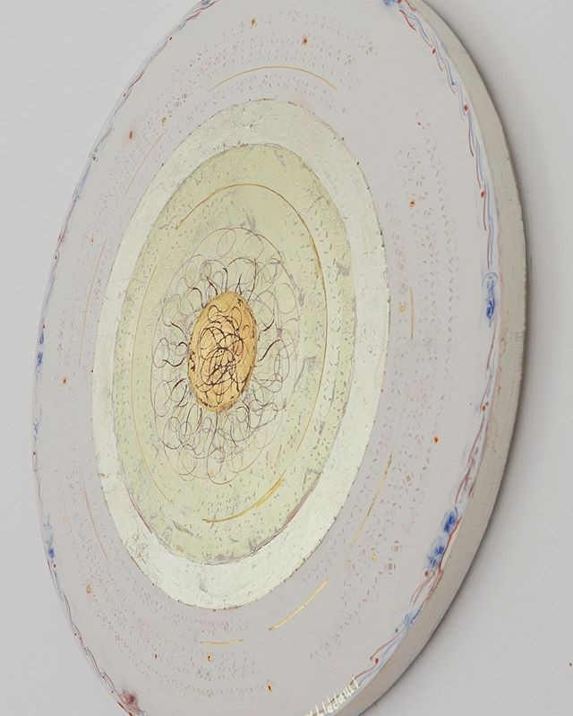Create a 'Selah' Space with original art for meditation and prayer through nature's materials of genuine gold leaf, chalk, pigments, egg and hand made burnt repetitive marks. Divine Illumination Series made on birch plywood with hand made gesso, 23.5 ct