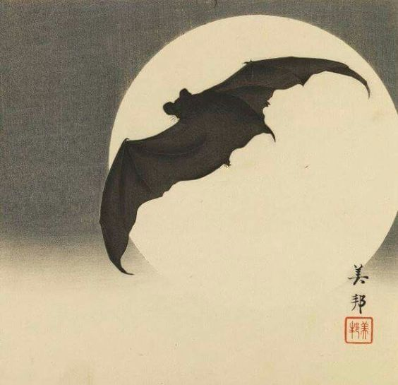 Bat Before the Moon, 1910, Biho Takashi