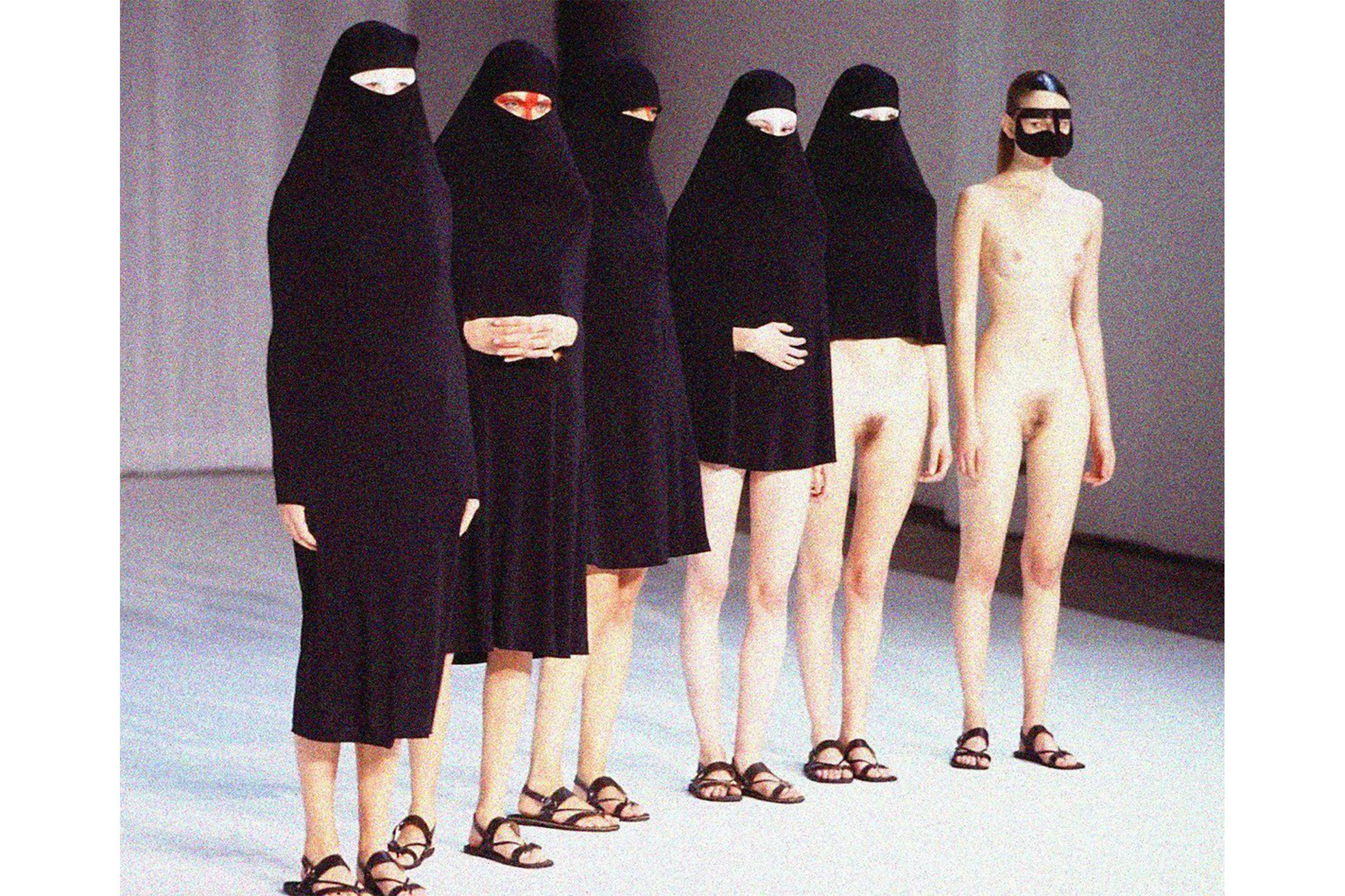 from Hussein Chalayan's 'Burka' show in 1996