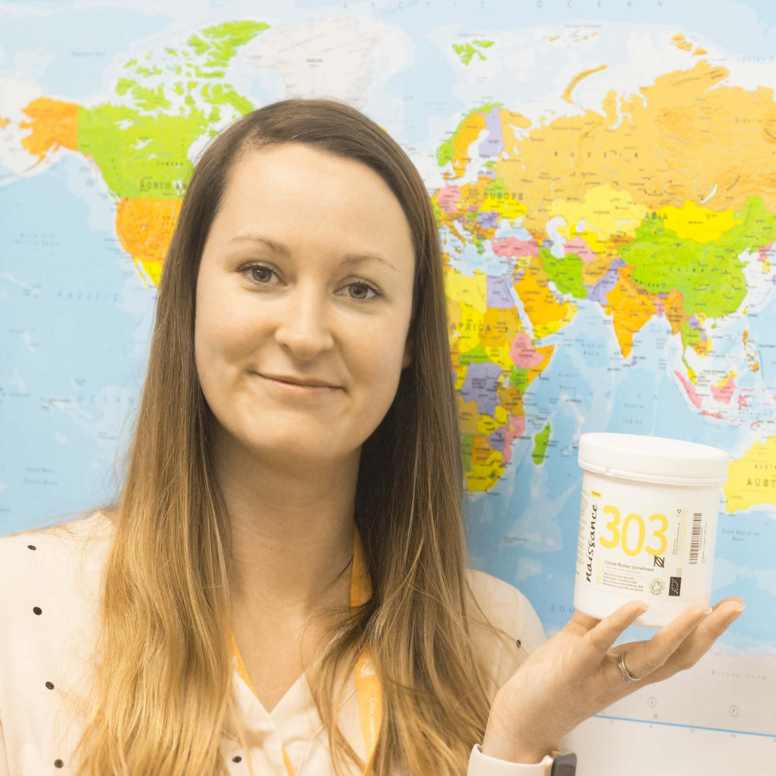 """Chantal James Head of Procurement and Ethical Policy  """"I joined Naissance early in 2018. It was the ethos of the company that attracted me to join. The continual drive to discover better and working with all the lovely people that this ethos attracts. What I love most about my job here is building ethical long term relationships with incredible suppliers all over the world, always learning new things about their communities and culture. We strive to work directly with the growers to not only ensure that we source the best quality products for our customers but that we can also help give back to communities where we can """"  Favourite product: """"Definitely our Organic Unrefined Shea Butter that we source from an amazing women's cooperative in Ghana"""""""