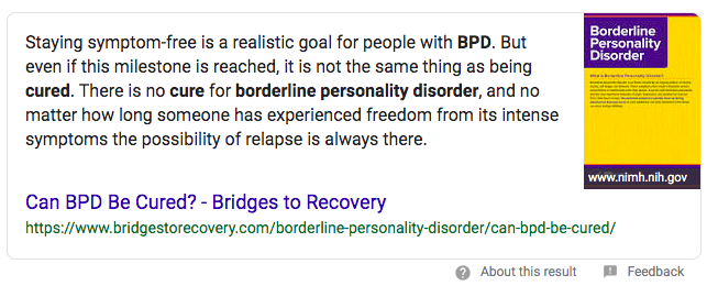 Can borderline personality disorder be cured?