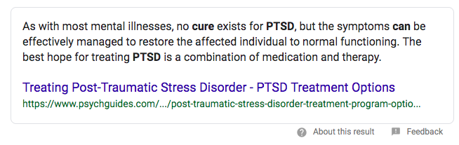 Can post traumatic stress disorder be cured?