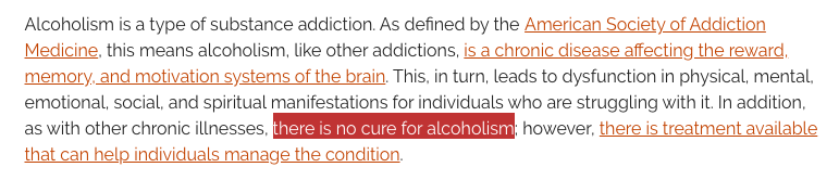 Can alcoholism be cured?