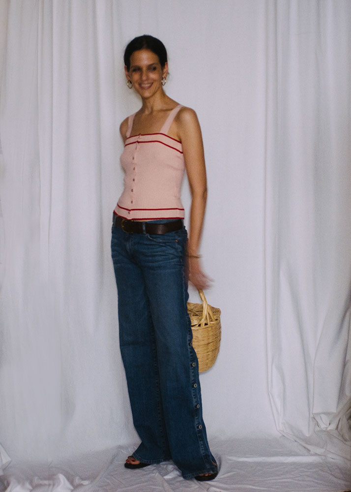 Top:  Rouje , jeans:  Nili Lotan , Hoops:  Kinn Studio