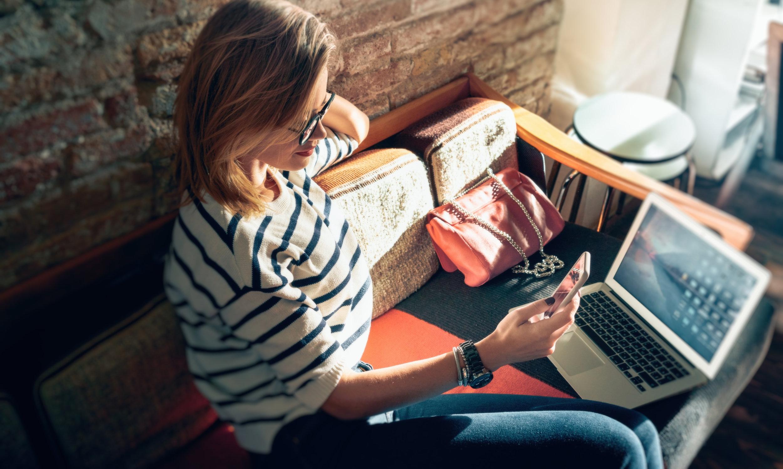 Photo of lady on a laptop