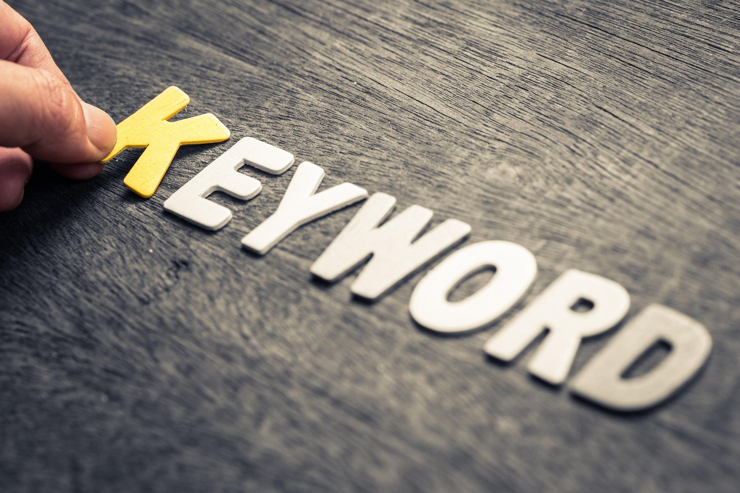 Photo of the word Keyword