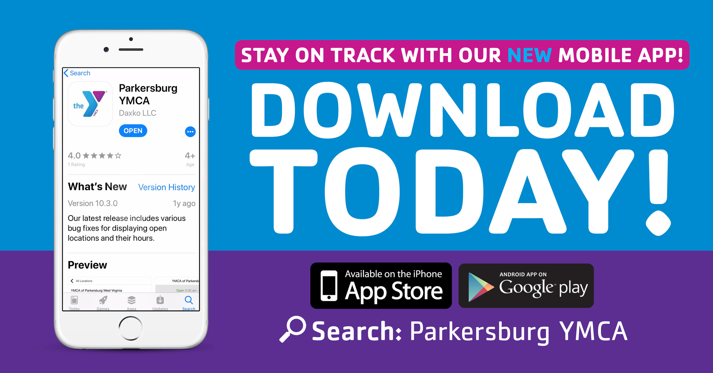 WE'RE MOBILELIKE YOU! - We're excited to announce our new mobile app, which brings the YMCA of Parkersburg right to your fingertips! Stay connected and access important information when you want it, where you want it – even on the go!DOWNLOAD ON iOSDOWNLOAD ON GOOGLE PLAY