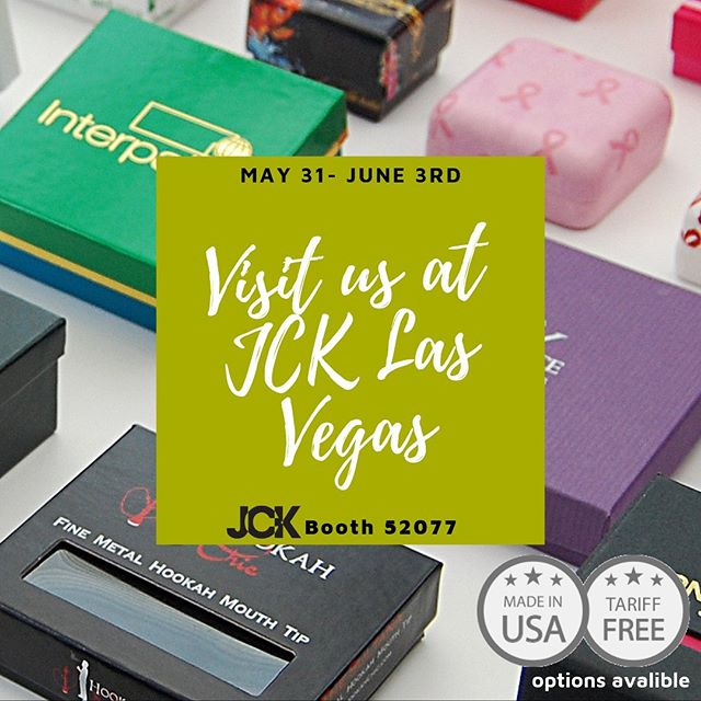 Going to JCK Las Vegas? Visit us at booth 52077 to see what's new, discuss your packaging needs and learn about our USA Made and Tariff FREE options to shield you from any increased costs. #jcklasvegas #packaging #interpak