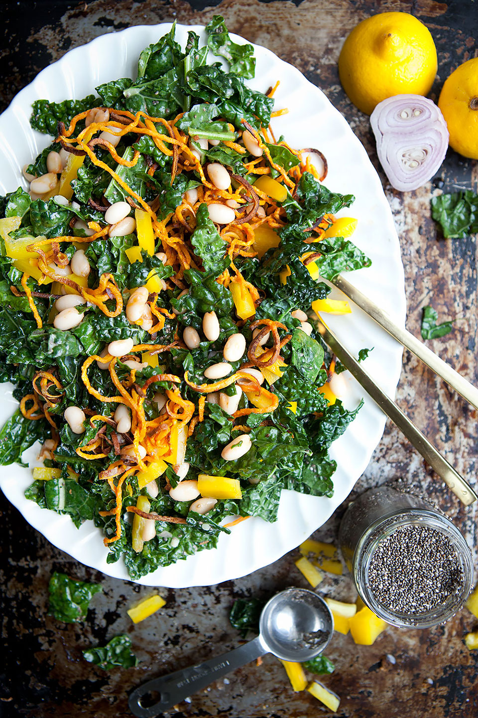 Kale Salad with Spicy Cannellini Beans and Lemon Chia Dressing | Gluten-free and vegan. | Loveleaf Co.