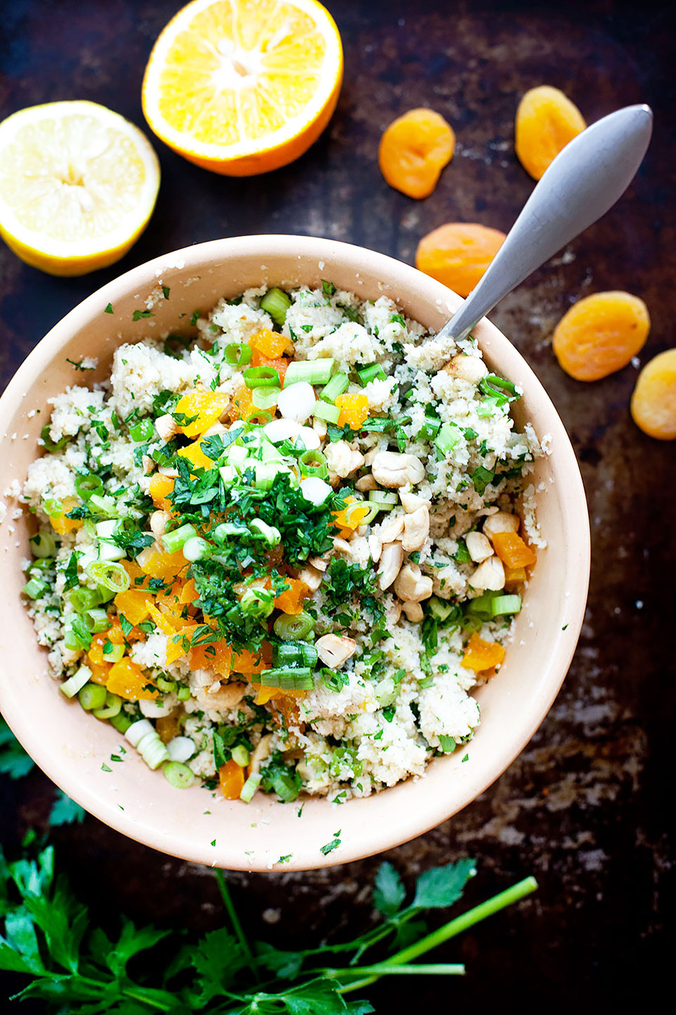 Cauliflower Couscous Salad with Apricots and Cashews | Vegan, gluten-free, and paleo. | Loveleaf Co.