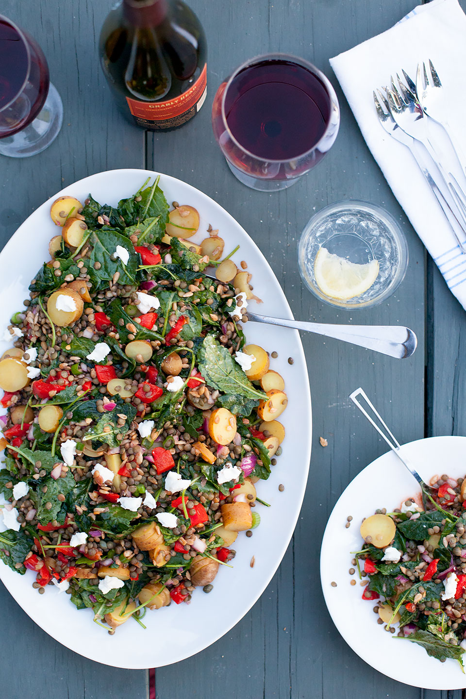 Lentil Potato Salad with Red Peppers and Smoky Paprika Dressing   Gluten-free with a vegan option.  Loveleaf Co.