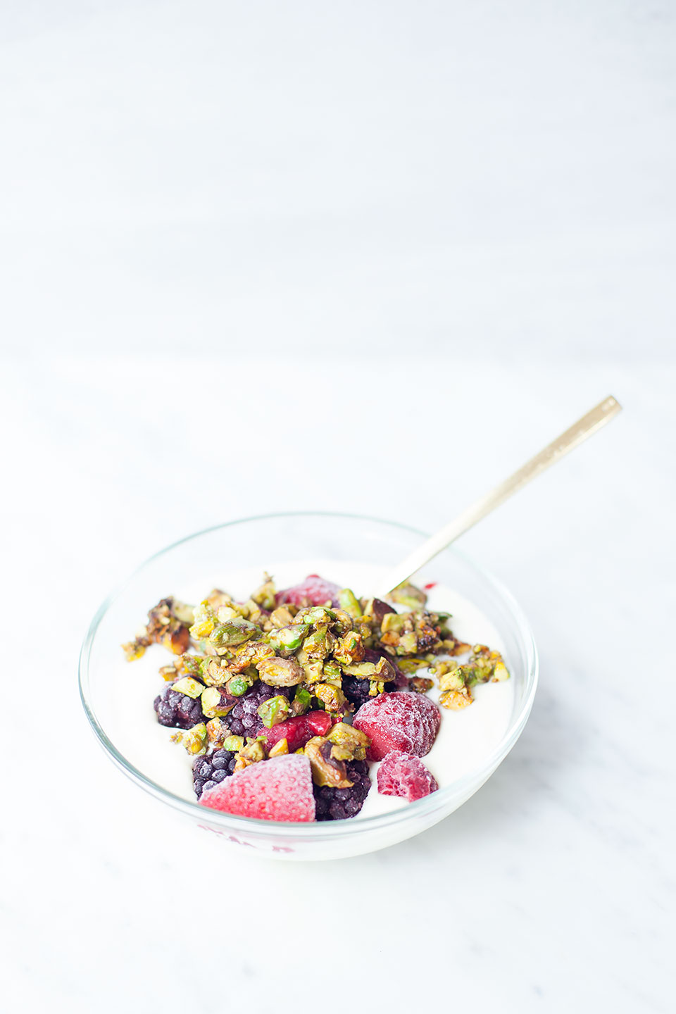 Berry Yogurt Bowls with Pistachio Crumble | Easy healthy breakfast. | Loveleaf Co. | Clean Eating Made Simple