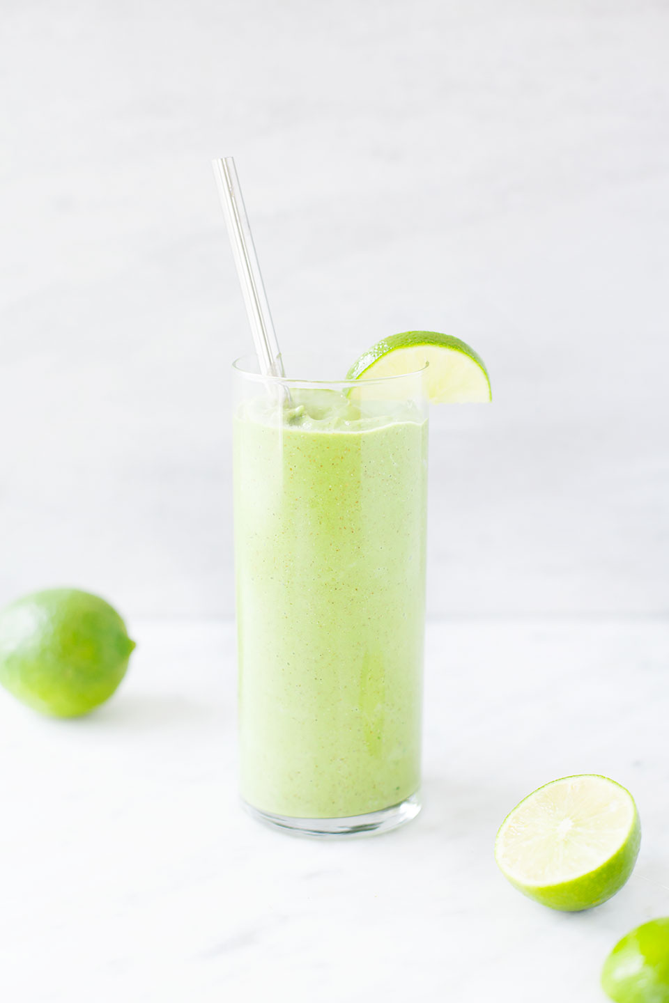 Lime Ginger Smoothie.   Made extra creamy with frozen cauliflower (don't worry, you can't taste it!). Vegan, dairy-free, and paleo.   Loveleaf Co.
