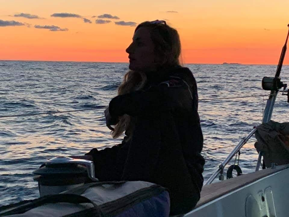 Alice at sunset as First Mate on a Swan 65