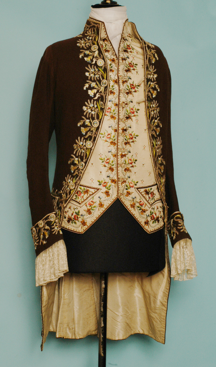 Embroidered waistcoat and jacket (c.1780)