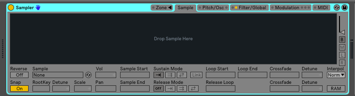 Step 1: load up your favorite sampler. For me it is the Ableton stock instrument, Sampler