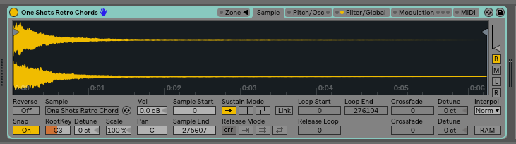 Step 2: Add your one shot to you sampler. With the ableton sampler I can just drag and drop.