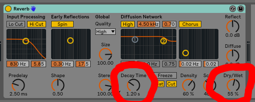I'm using Ableton's built in reverb, but you can use whatever you would like. Our two parameters of interest for now are decay time and the dry/wet knobs.