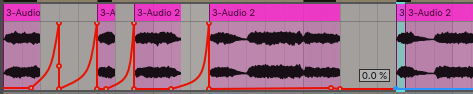 We are going to use the selected part of this chord to become a reverse swell into the chord itself. Those other automation points are just from the reverb throws we completed earliers