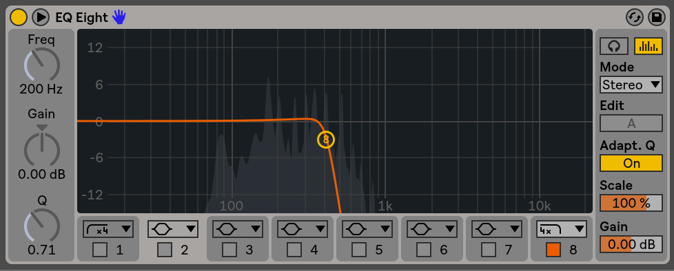 This is the same EQ as earlier, but we now have our 8th node point actived. The symbols above each number represents the type of mode for your node point. the 1 point is a high pass, 2 through 7 are bell curves, and 8 is a low pass. Now that 8 is activated in the low pass mode we can see an orange line on our analyzer window. This is a visual representation of how our filter is working. If we move the frequency knob down in value we would see the curve move to the left, and vice versa.