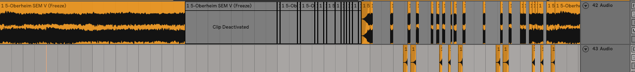 This is other part that really gives groove to the B section. This is bounced down audio, but it is the same chord progression from earlier. That space between the long clip and the short clip is the break down. Notice all of the chopped up audio inthe B section. This is where that groove gets amplified.