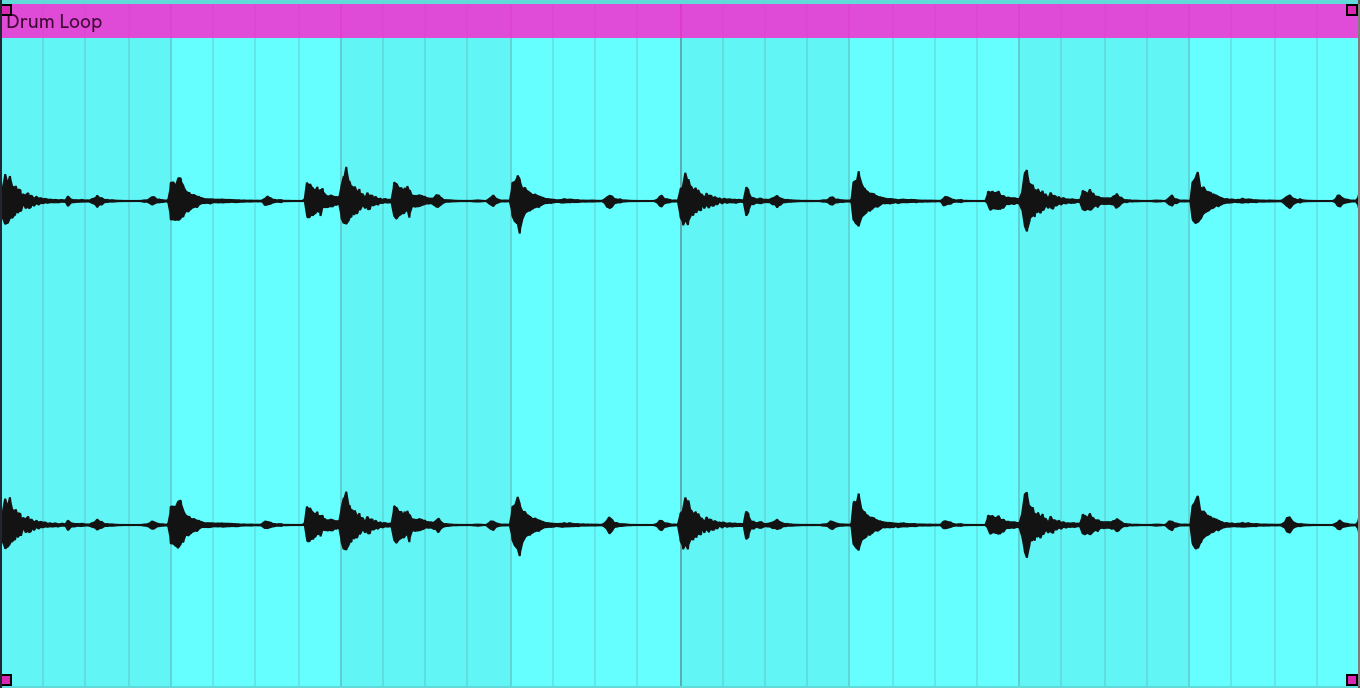 This is what the wave form of that drum loop looks like just for reference.