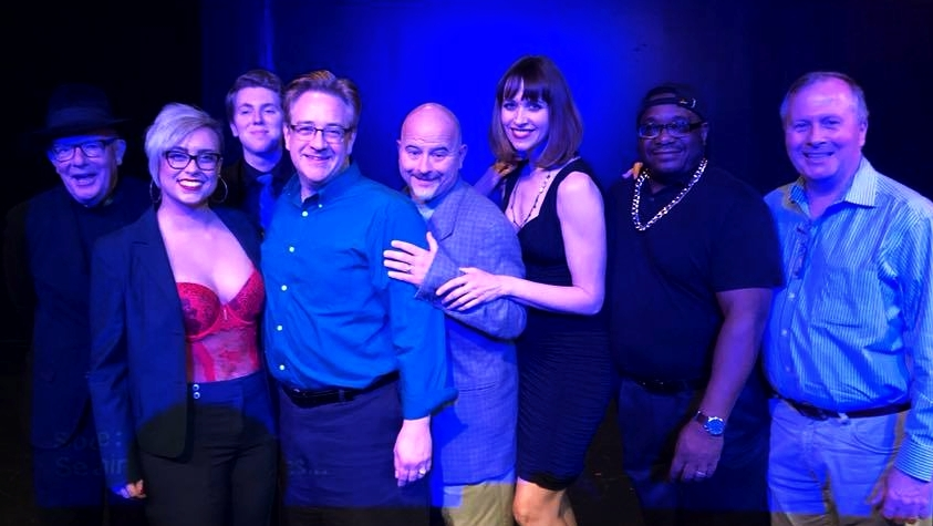 """The Cast of """"I Forgot to Worry"""" with playwright Lawrence Paone: Mark Yochum, Kaitlin Cliber, Jake Berlin, Joe Eberle, Dave Joseph, Mary Kay Riley, Mark Connor, and Lawrence Paone."""