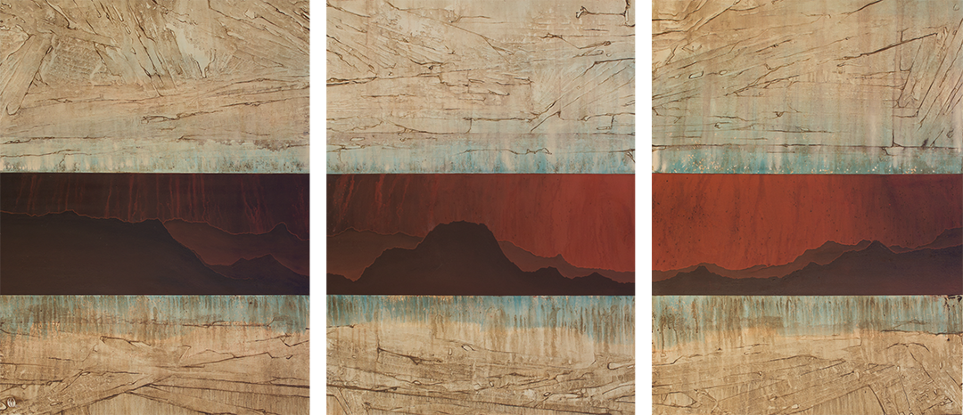 "Visceral Dawn, Vista  [triptych]  112"" x 48"" {36"" x 48"" ea.] acrylic on canvas"