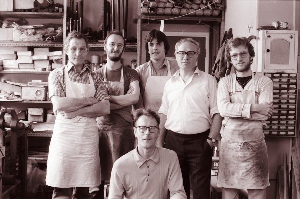 Flutemaker's Guild staff  Martin Gordon, back row center  London, England c. 1978
