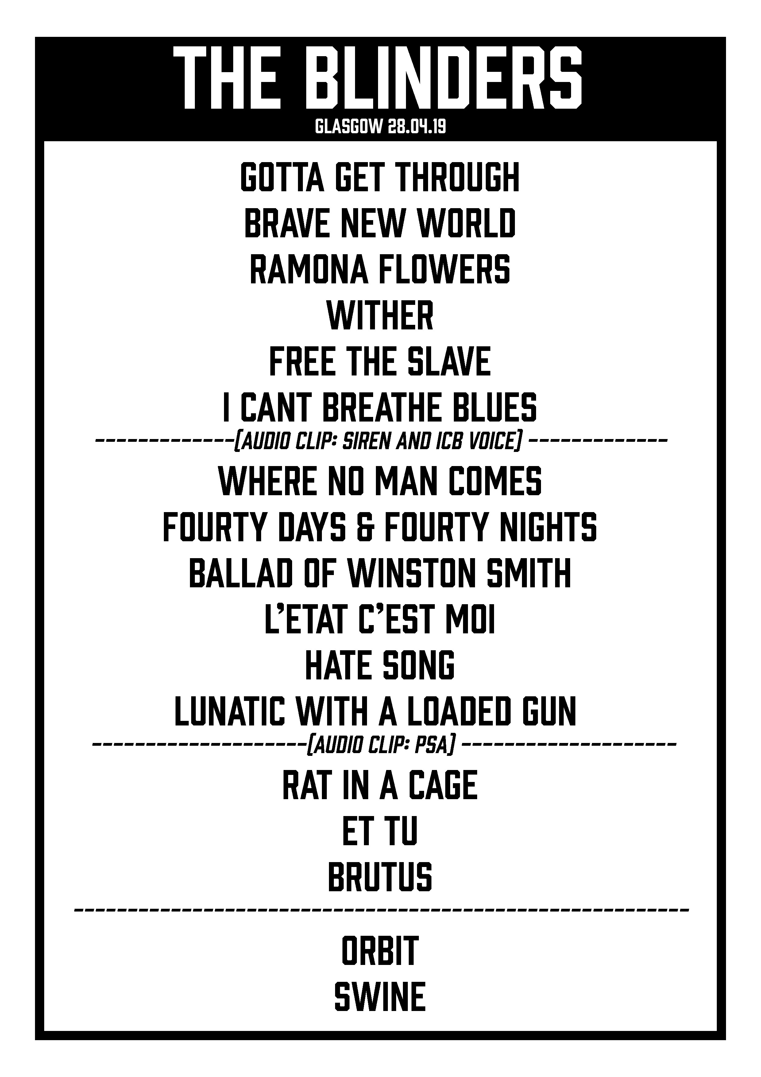 Get your own copy of the set list -