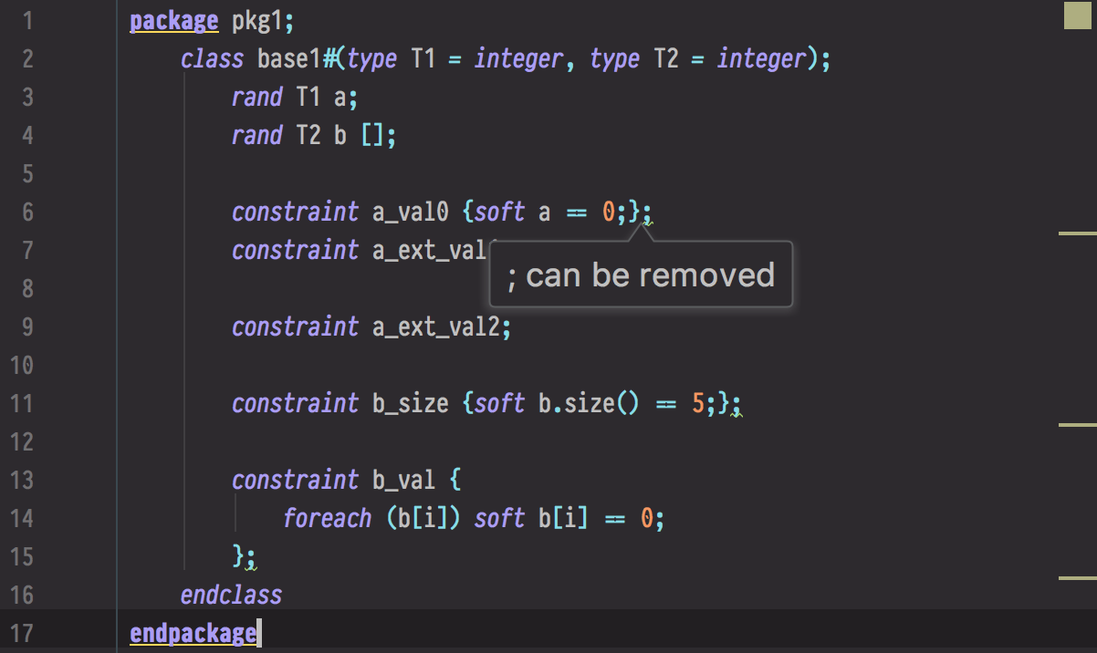 Edaphic.Studio detects unnecessary semicolons in the code.