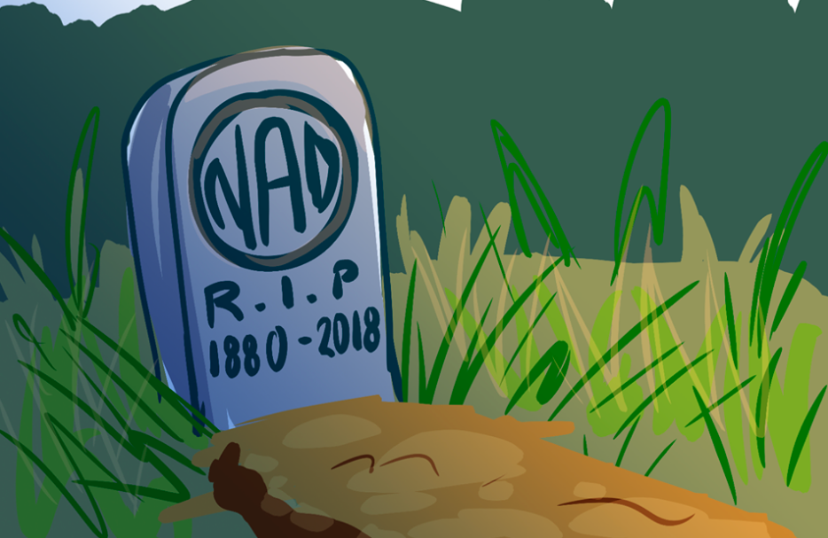 "Illustration by  Destiny Slater  ID: Text on tombstone reads ""NAD 1880 - 2018 R-I-P"" on ground with light brown mound of dirt directly in front of stone. Surrounded with overgrown tan and green grass and dark green mountains in background."
